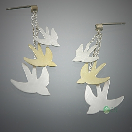 14K Yellow and White Gold Bird Earrings with Sapphires.jpg